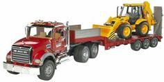 "Buy Bruder: Mack Granite Low Loader & JCB Backhoe at Mighty Ape NZ. Bruder: Mack Granite Low Loader & JCB Backhoe The """"incredibly"""" realistic driver's cabin with its doors that can be opened, the tilting engine b. Mack Trucks, Mack Dump Truck, Toy Trucks, Dump Trucks, Jouet Bruder, Granite, Benne, Mini Excavator, Backhoe Loader"