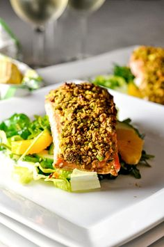 Add some flavour and crunch to your next salmon meal with this super easy Pistachio Crusted Salmon.