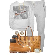 I'll wear everything but the bag and change those timberlands to white Timbs Outfits, Timberland Outfits, Cute Swag Outfits, Dope Outfits, Outfits For Teens, Casual Outfits, Timberlands, Timberland Boots, Timberland Fashion