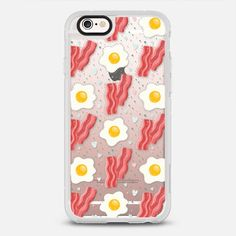 Breakfast time! Cute eggs and bacon - protective iPhone 6 phone case in Clear and Clear by Anna Alekseeva kostolom3000 #food | @casetify