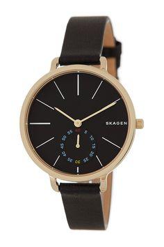 Women's Hagen Leather Strap Watch by Skagen on @nordstrom_rack