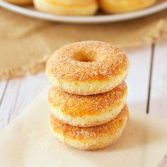 These Old Fashioned Cinnamon Sugar Baked Cake Donuts are easy to make, and they're lower in fat and sugar than most donuts, making them a healthier choice!