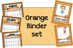 Classroom Freebies Too: More Binder Sets, Orange and Red!