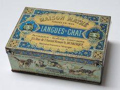 Rare Boite ancienne vintage Langues de chat par designantique