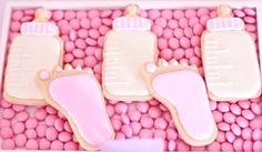 Pink Baby Shower Cookies | CatchMyParty.com
