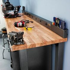 Workbench Power Strip with Tool Caddy Extensions in Hammered Granite Gladiator 6 ft. Workbench Power Strip with Tool Caddy at The Home Depot Storage Shed Organization, Garage Workshop Organization, Diy Garage Storage, Garage Bench, Tool Storage, Storage Ideas, Garage Tools, Garage Shop, Garage Gym