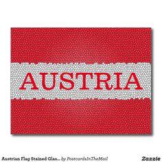 Austrian Flag Stained Glass Effect Austria Postcard