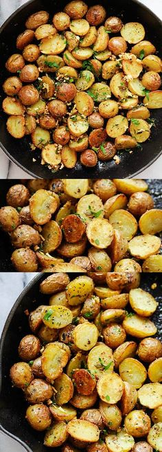 Crunchy and crispy roasted potatoes recipe. These potatoes are baked in the oven with garlic-herb infused oil | rasamalaysia.com #potatoes #sidedish #dinner #oven #roasted
