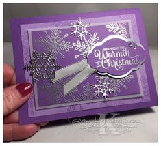 """Faithful INKspirations: Christmas Fridays in July: Purple Haze is made with Stampin' Up's """"Snowflake Sentiments"""" stamp set. Christmas Cards 2018, Xmas Cards, Holiday Cards, Christmas Tables, Christmas Artwork, Christmas Crafts, Christmas Minis, Snowflake Cards, Snowflake Designs"""