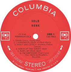 """Record for Thelonious Monk's SOLO MONK from 1965. Here the title of the album appears to be """"Solo"""" by """"Monk."""""""