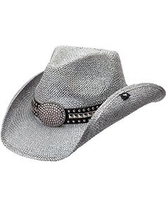 da59b0a6b4583 Peter Grimm Ltd Women s Gila Bling Oval Buckle Hat Band Straw Cowgirl  Silver One Size