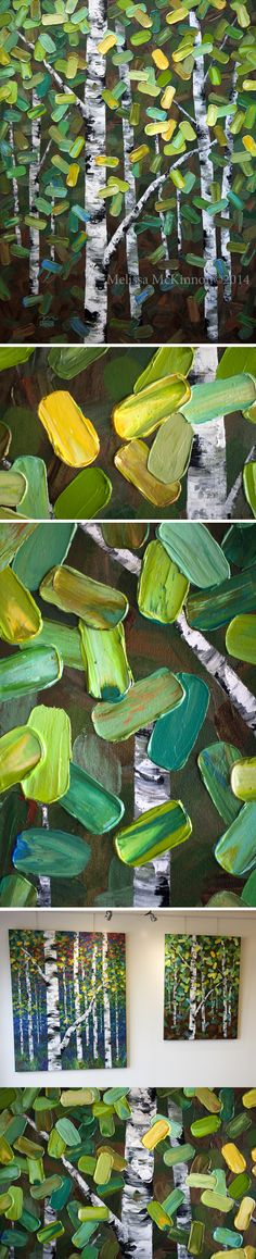 "MELISSA MCKINNON Contemporary Abstract Landscape Artist features BIG COLOURFUL PAINTINGS of Maple Trees, Aspen & Birch Trees, Rocky Mountains and stunning views of the Canadian landscape art. Tree Art - A modern green, yellow and blue forest of birch and aspen trees""Remnants Of Spring"" 36""x48"""