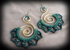 Macrame earrings, hoop earrings, tribal, boho, bohemian, hippie, gypsy