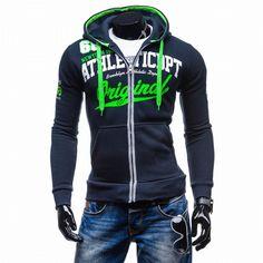 >> Click to Buy << Brand men clothing Hoodies Men Hoodie Letters Printed Zipper Sweatshirt Mens Moletom Masculino Hoodies Slim Tracksuit tops GH038 #Affiliate