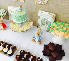 Peter Rabbit Dessert Table by CUPCAKES AND CONFETTI @ CupcakesandConfetti.com  Instagram: @cupcakesandconfetti1 Facebook: @cupcakesandconfetti1
