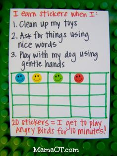 Tips for Positively Addressing Your Child's Behavior Using a Token Economy: will use a different system; angry birds for 10 minutes sounds too strict for me Toddler Behavior, Toddler Discipline, Behavior Plans, Toddler Chart, Token System, Montessori, Kids Rewards, Reward System For Kids, Token Economy
