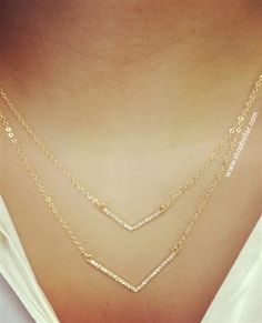 Gold Jeweled V Double Strand Necklace