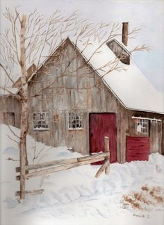 Aquarelle : Une cabane à sucre à Marlborough, New Hampshire Barn Pictures, Pictures To Paint, Watercolor Landscape, Watercolor Paintings, Watercolors, Photo Images, Painting Workshop, Snow Scenes, New Hampshire