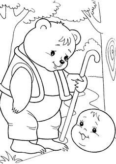 Раскраска Медвежонок и колобок Preschool Writing, Coloring Pages For Kids, Nursery Rhymes, Paper Dolls, Cool Kids, Hand Lettering, Fairy Tales, Kindergarten, Drawings