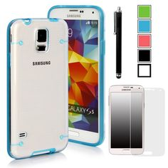 Galaxy S5 Case, Caseology [Clearback Bumper] Samsung Galaxy S5 Case [DIY Customization] [Electric Blue] Scratch-Resistant Clear Back Cover [Drop Protection] TPU Hybrid Fusion Best Samsung Galaxy S5 clear case (for Samsung Galaxy S5 Verizon, AT&T Sprint, T-mobile, Unlocked):Amazon:Cell Phones & Accessories