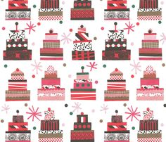 I like the limited palette. It's so friendly.    Happy Birthday Cake ! fabric by demigoutte on Spoonflower - custom fabric