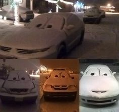 Snow CARS :)  I'm so tempted to do this tonight!!!  I see the cars outside my window begging for some fun!!
