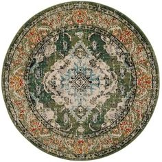 Safavieh Monaco Vintage Bohemian Forest Green/ Light Blue Rug (6' 7 $156 Round)