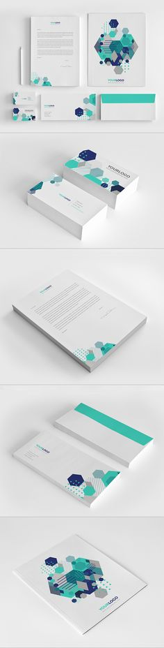 Abstract Modern Stationery Pack by Abra Design, via Behance