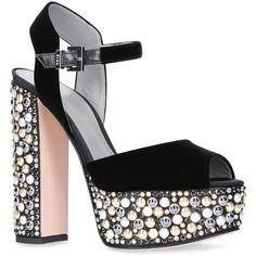 Gina Embellished Velvet Sia Platform Sandals ($1,340) ❤ liked on Polyvore featuring shoes, sandals, velvet platform shoes, decorating shoes, chunky-heel sandals, velvet sandals and chunky shoes