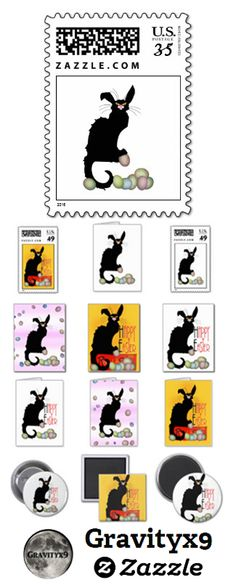Happy easter basketcolored eggs and kitten with bunny ears card le chat noir is ready for easter with bunny ears and colored eggs check out the variety of gifts cards and products at store at negle Images