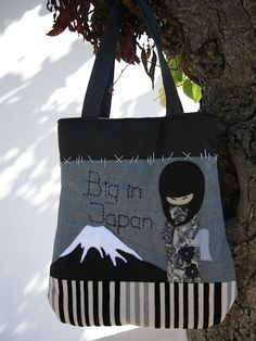"""""""Big in Japan"""": Fabric bag with lining and interior pocket."""