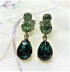 Green Rhinestone Dangle Clip On Earrings Vintage 1950s Emerald and Peridot Green by letsreminisce on Etsy