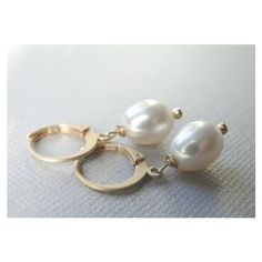 AAA Freshwater Pearl Earrings, Creamy White Classic Pearl Earrings,... ($36) via Polyvore featuring jewelry and earrings