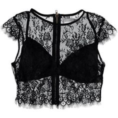 Nasty Gal See it Through Lace Crop Top ($40) ❤ liked on Polyvore featuring tops, lacy tops, lace front top, lace bralette top, bralet crop top and laced up top