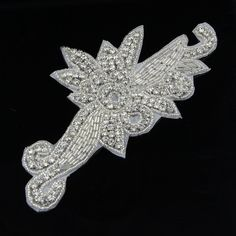 Yontree Crystal Rhinestone Applique Sew Iron On Wedding Bridal Dress DIY Sewing Craft 1 Pc >>> More info could be found at the image url.