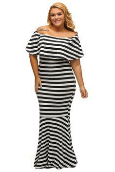20edec9198864 White Black Striped Ruffle Off Shoulder Tube Plus Size Maxi Dress