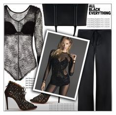 """Monochrome: All Black Everything"" by shoaleh-nia ❤ liked on Polyvore featuring La Perla and Aquazzura"