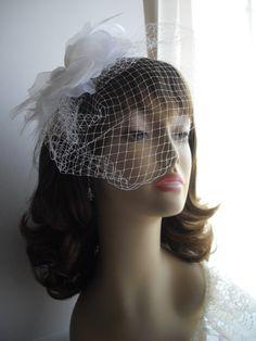 Bird Cage Veil - Wedding, Vow Renewal, Beach Wedding Headpiece White by handcraftusa