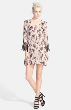 ASTR Lace Sleeve Shift Dress available at #Nordstrom
