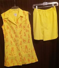 Womans Vintage Short and Top Set by The Vested Gentress Size 12 Bunnies #VestedGentress #BunnyPrint