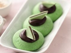 St. Patrick's Day Treats Chocolate Mint Thumbprints