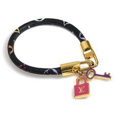 Louis Vuitton Canvas And Metal LV Logo Bracelet