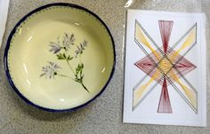 Ceramic bowl and stitched card. Joan. 2015.
