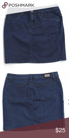 """Earl Jean Polka Dot jean skirt Pencil silhouette Dark Blue Solid Measurements 16"""" Length Materials 58% Cotton, 40% Polyester, 2% Spandex Condition This item is gently used Earl Jeans Skirts Pencil"""