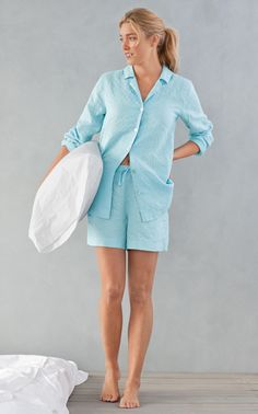 Perfect summer sleepwear, J.Jill Pure Jill Sleep Linen Shirt & Shorts