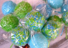 Cake Pops  Lime Green and Blue Party by SimplyDivineDesserts party favors, birthday, crocodil, cake pops, lime green, blues, babi shower, green and blue party, blue parti