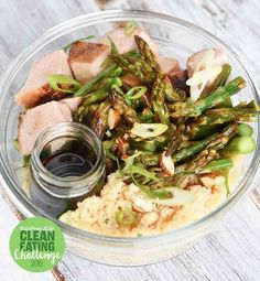 "Pork Loin, Asparagus, and Cauliflower ""Rice"" Bowl"