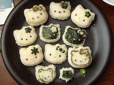 Cute Hello Kitty Onigiri~ want this sushi in my bento box! I Love Food, Good Food, Yummy Food, Rikka And Yuuta, Cafe Food, Aesthetic Food, Food Cravings, Hello Kitty, Food Porn