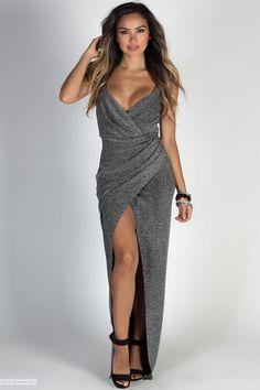 daf510ff95f2 Spaghetti Strap Fixed Wrap Dark Silver Long Sparkly Dress with Thigh High  Slit Silver Sparkly Dress