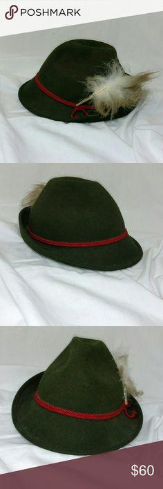 "vintage German Bavarian green felt alpine hat This is a vintage green German felt hat diameter around is 21"" Other"